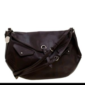 Lancel dark brown silver leather shoulder bag